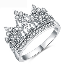 Wholesale New Design Platinum/Gold Plated Crown Diamond Ring For Women 2018