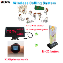 Wireless Calling Software Display K-4-C-USB & Wrist Clock Watch Pager K-300plus-red And K-G2 Menu Holder Paging System