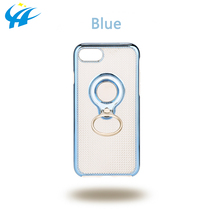 half transparent blue phone case hard pc material phone case cover for cell phone holder ring