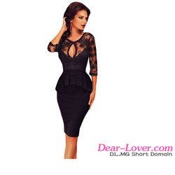 Paypal accept Three Quarters lace up women office peplum dress