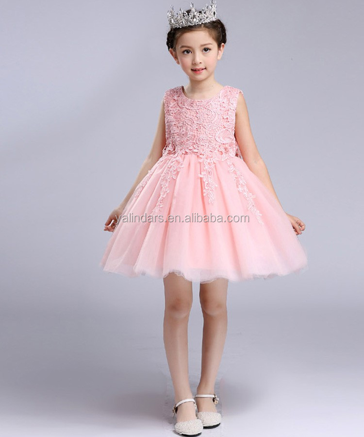 Normal Frock Designs Kids Wear Coral Color Long or Medium Dresses for Wedding
