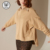 2018 New French Fashion Round Neck Long Sleeve Slit Hem Cotton Sweater Hoodie