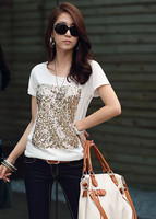 Top quality Ladies' Fashion T-shirt print with sequin women paillette tshirt