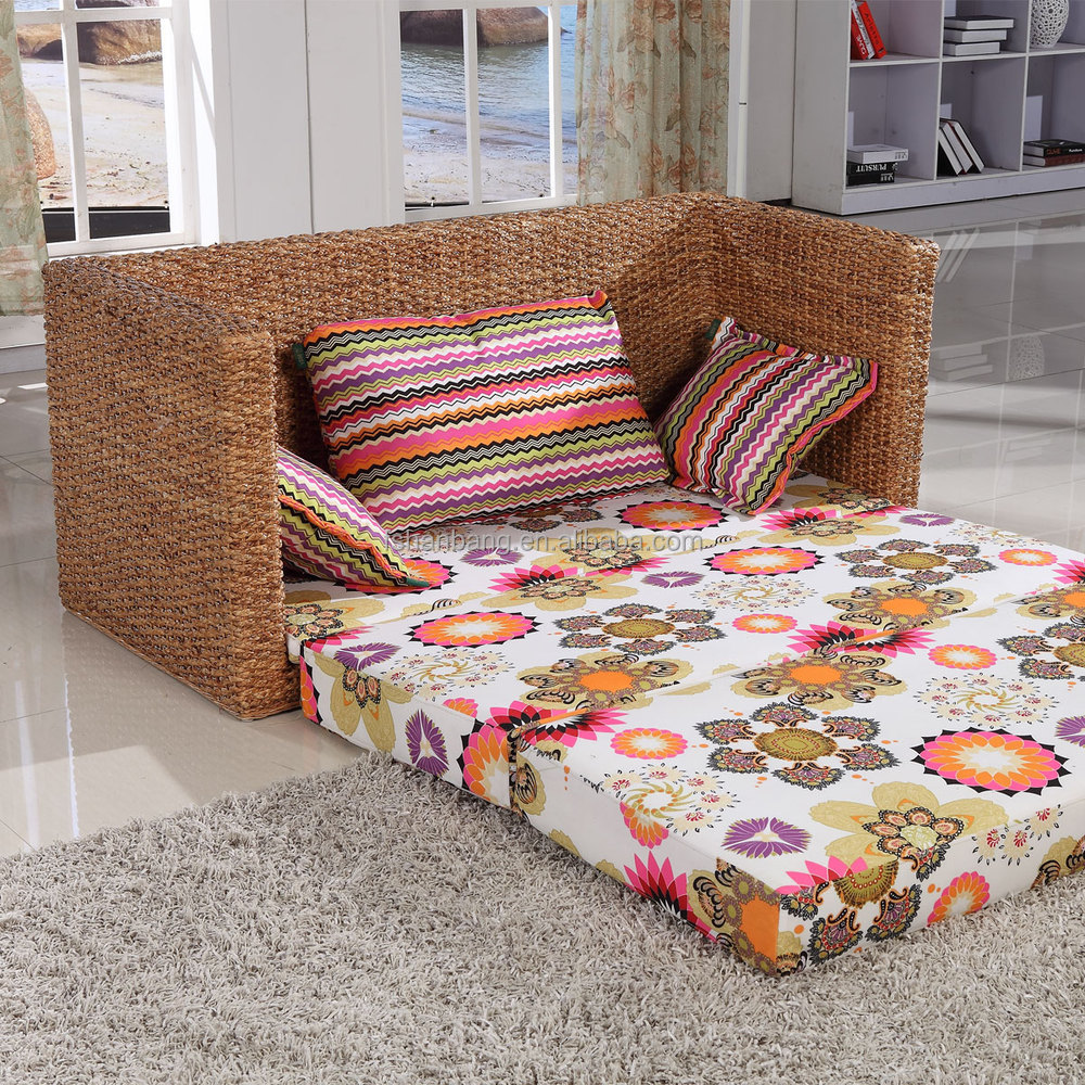 Rattan Living Room Storage Box Sofa Bed With Arms