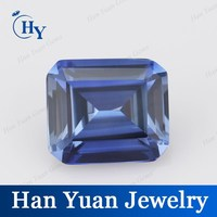 Lab Created Tanzanite Emerald Cut Cubic Zirconia