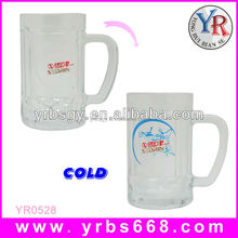 Alibaba china factory direct pricing color changing glass beer mug