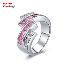 Silver White and Rose Pink Square Shape Zircon 18k White Gold Engagement Ring