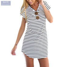 womens dresses wholesale clothing Beach Crew Neck Short Sleeve Striped Loose blank t-shirt dress Plus Size