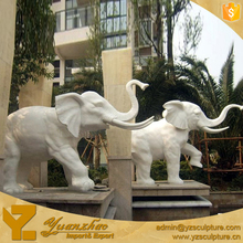 outdoor garden decoration life size stone white marble elephant for sale
