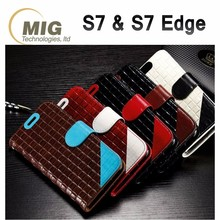 2016 new Woven real leather wallet Phone case for samsung s7 / s7 edge
