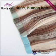 super surgical cheap brazilian grade AAAAA 18 inch virgin indian human double sided pre taped adhesive waterproof tape hair