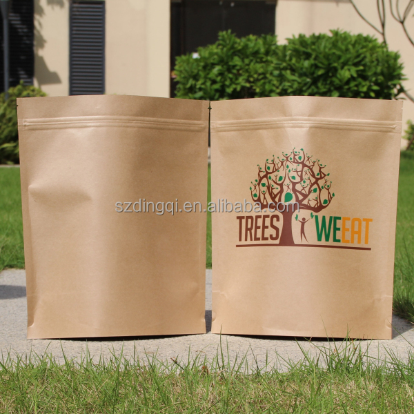 standing coffee auto machine made paper kraft paper bag with zip lock