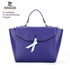 7460- Paparazzi Factory Wholesale original design knot decorative flap closure 2018 blue color fashion elegance lady handbag