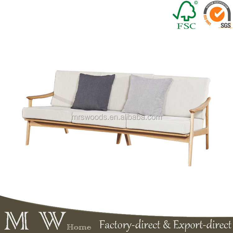 French provincial vintage style soild oak wood three seat upholstery sofa,living room furniture