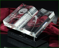 Beautiful custom designed crystal glass book award trophy engravings for souvenirs