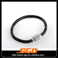 Magnetic lock leather girls latest bangles