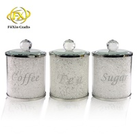 2019 manufacturers selling crystal glass coffee, tea, sugar jar canister with lid