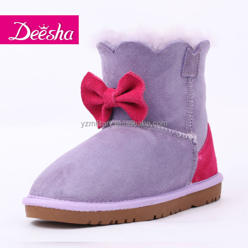 latest girl bowknot design cute popular sheepskin suede girl boots