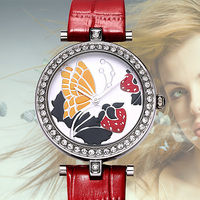Time story Watch fashion with butterfly Pearl shell surface waterproof belt pearl shell face lady table