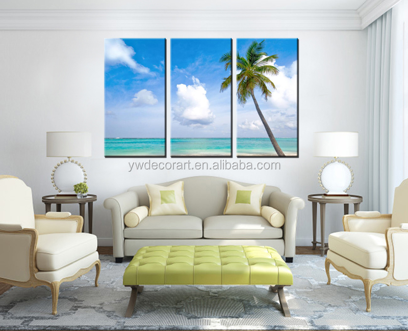 Framed 3 Piece Beach coconut tree Modern Home Wall Decor Canvas Picture Art HD Print Painting On Canvas Artworks