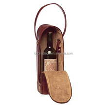 exquisite workmanship reusable luxury leather wine bottle bag carrier in box