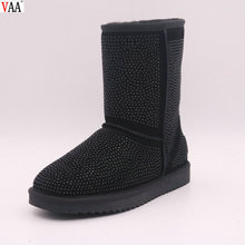 High Discount Genuine Leather Factory Pure Wool Hot Sale Winter Sequins Women Boots In Stock JLX-CF-382