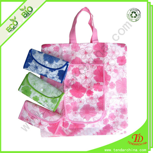 With Silk Screen Printing Reusable Flower Cheap Nylon Foldable Shopping Bag