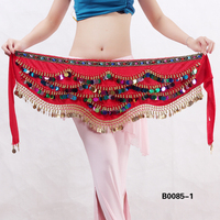Red velvet belly dance gold coins belt,velvet belly dancing belt stelisy B0085-1