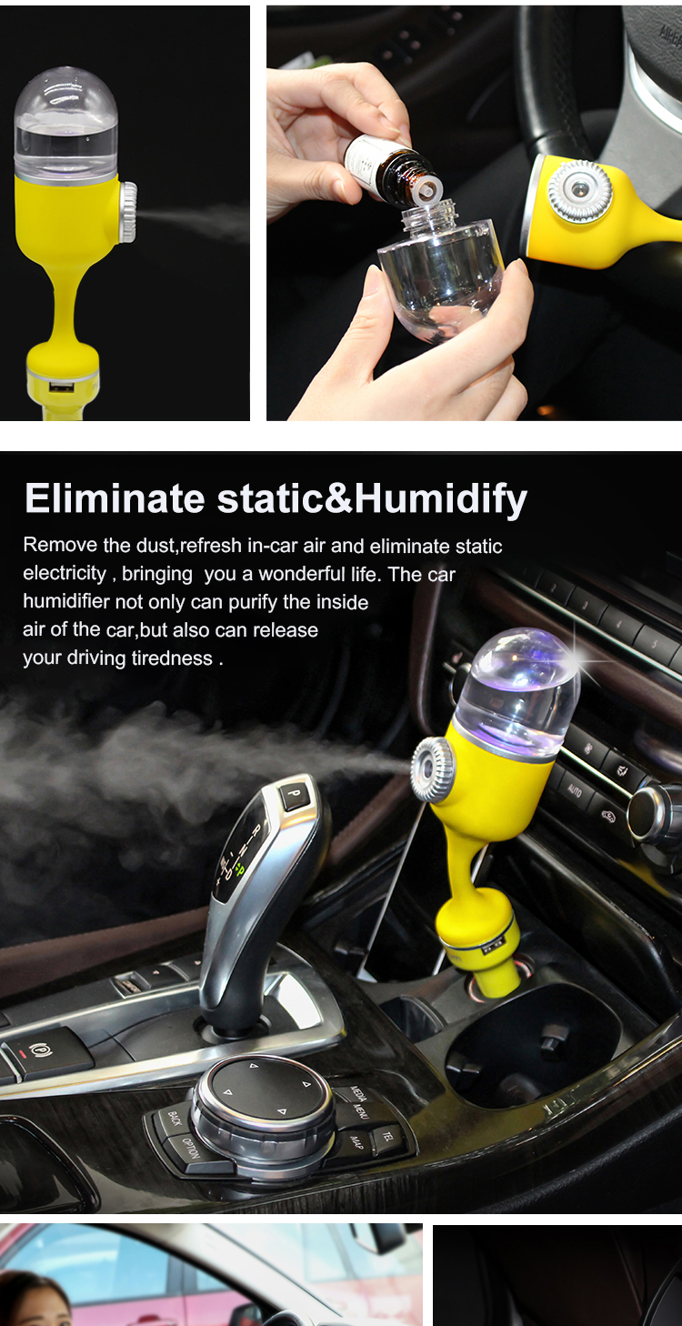 new professional mini auto cold air mist water spray homemade car humidifier car fogger cold air cooler stand battery shenzhen