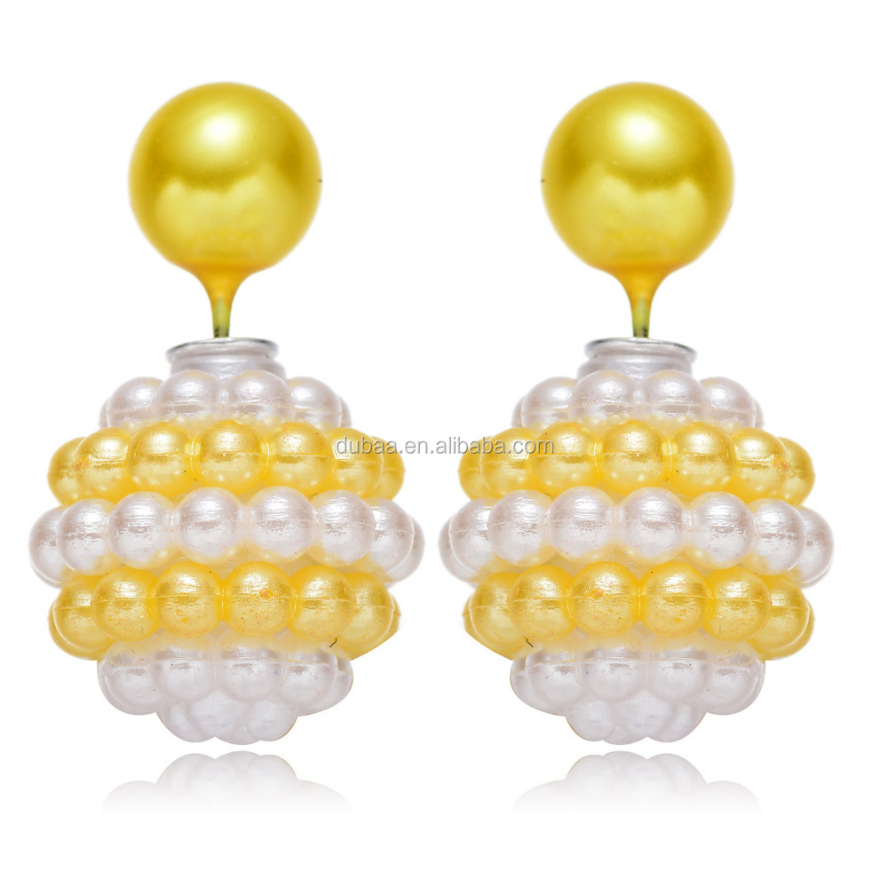 Women Lady Fashion Jewelry Double Sided Pearl Beads Earrings Ear Studs