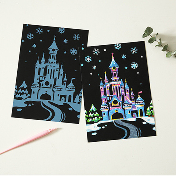 Blank Black Paper Scratch Art Painting Card With Pen