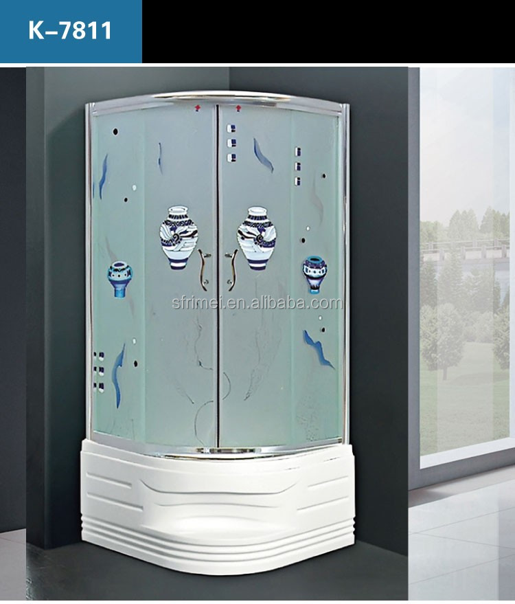 K-7811 Corner Ocean Pattern Indoor Portable Shower Room With Deep Shower Tray