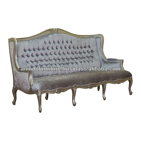 Silver and Grey Leaf Sofa with Buttons
