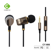 Computer accessories hot selling metallic earphones high quality earphone