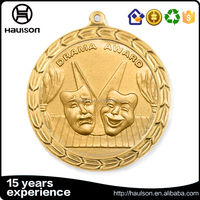Professional custom 3d embossed die casting petal edge brass iron zinc alloy gold plated drama award medal with hanging