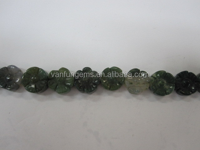 hot sale natural moss agate flower shaped beads