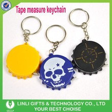 Custom Logo Plastic Bottle Cap Tape Measure Keychain,Ruler Keyring,Tape Measure Key Chain