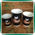 Disposable Black stocked 8 12 16oz double wall paper cup with lid