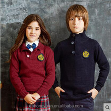 custom fashion spring red/navy blue school knitting high collar pullover sweater uniforms