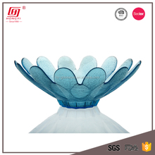 Hot sale household items lead free fancy flower shape colored glass bowl fruit bowl