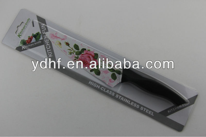 HF-008C non-stick knife with beautiful flower picture printed,nice non-stick knife
