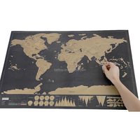 Scratch Map Black Golden World Map