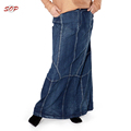 Plus size maxi denim skirts long knee length indian