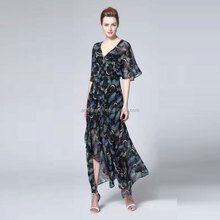 2017 Long Fashion STYLE PRINTED CHINESE SRTLE Women Long Max Dress