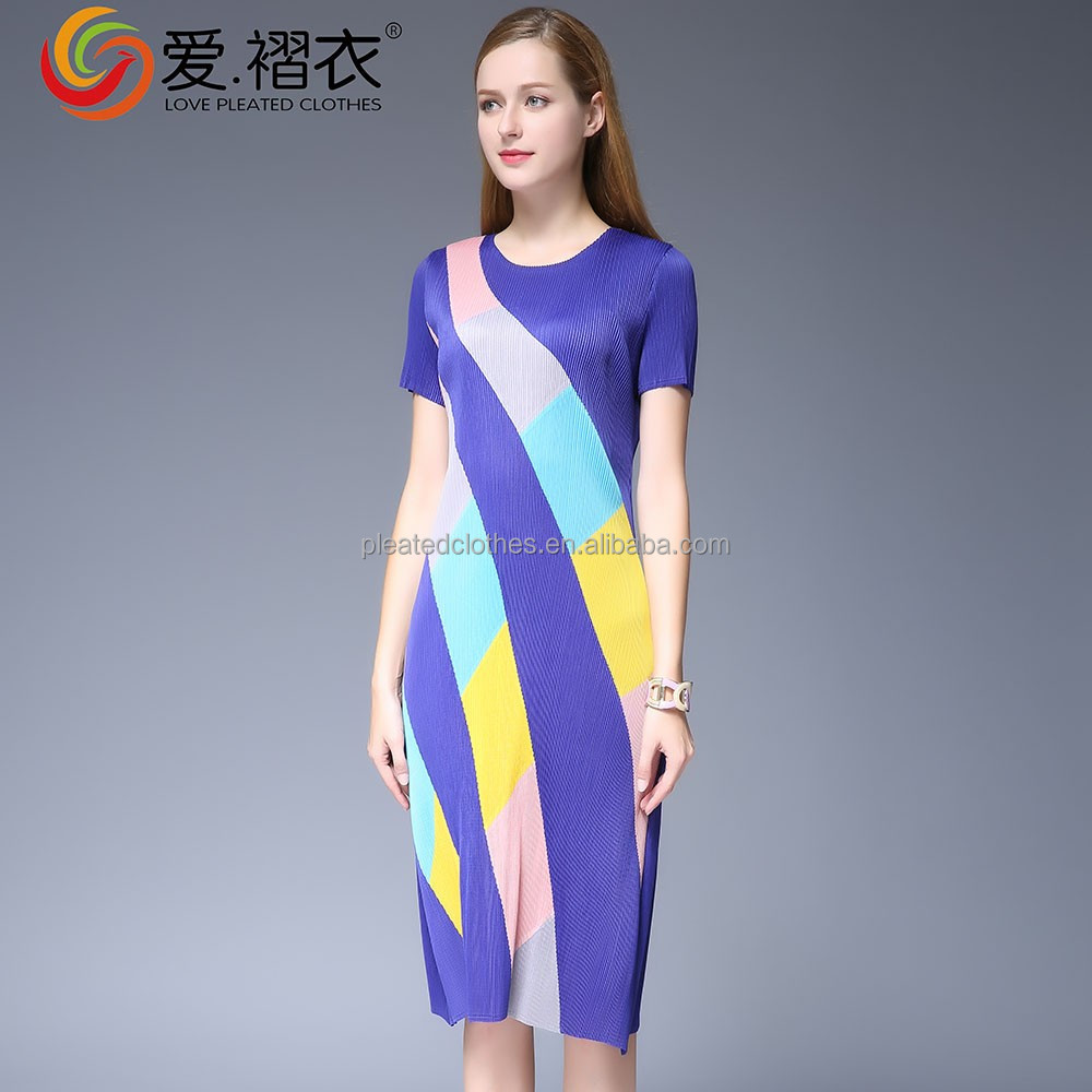 Colorful stripe pleated dress bangladesh wholesale dress for lady