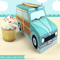 woody surf car cupcake box holds cookies and treats, gift and favor box, party centerpiece
