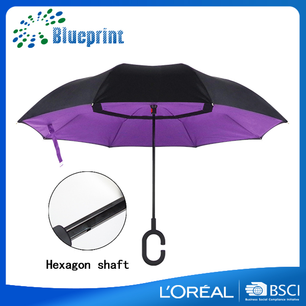 purple rain shed double layer windproof stick inverted umbrella