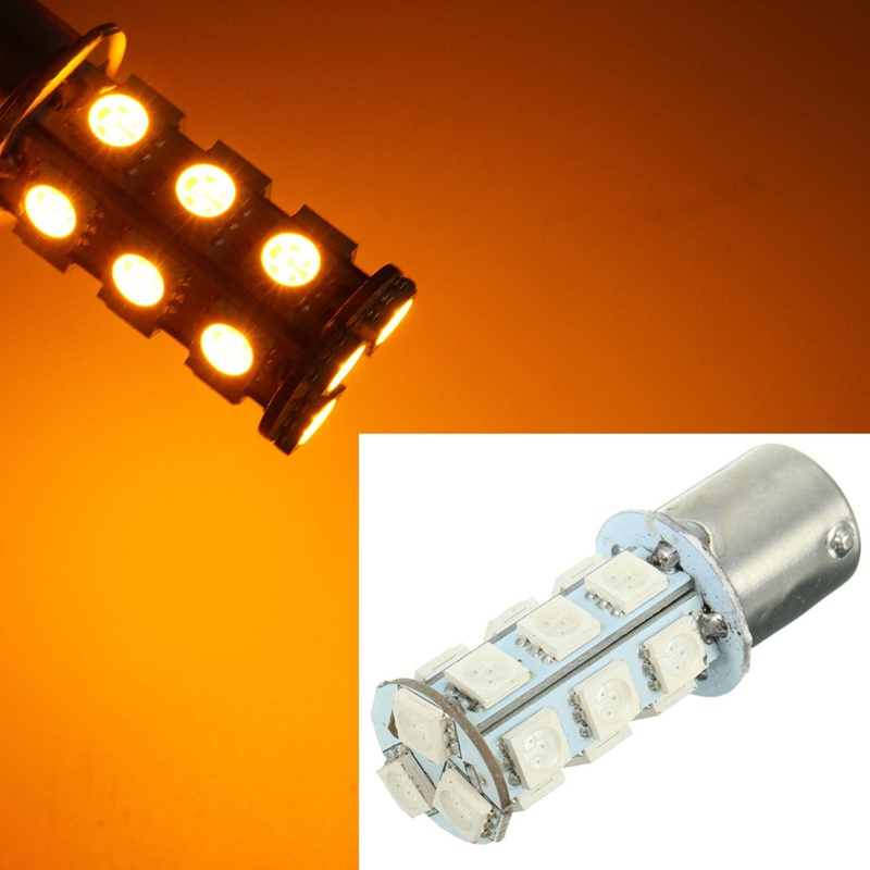 18 SMD 5050 LED Bulb Turn Signal/Brake/Reverse/Parking Light Yellow 150 Degrees BAU15s/1056/7507/PY21W Auto Led Bulb 12V