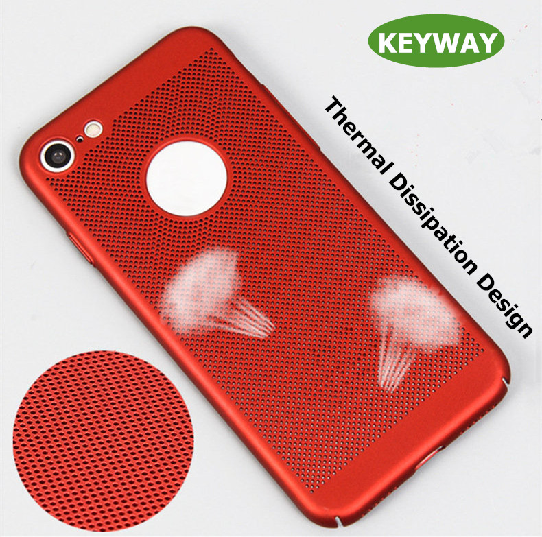2017 New Arrival Slim Matte Soft Touch Rubber Painting PC Heat Dissipation Mesh Phone Case for iPhone 7 5 6 Plus