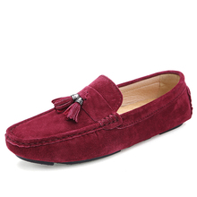 Cheap cow suede loafer casual slip on mens shoes